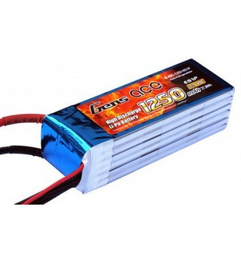 Bateria LiPo Gens Ace 1250mAh 22.2v 45C 6S1P