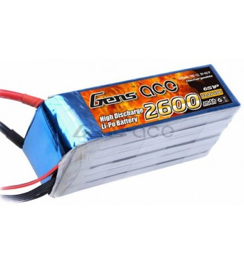 Bateria LiPo Gens Ace 2600mAh 22.2v 45C 6S1P