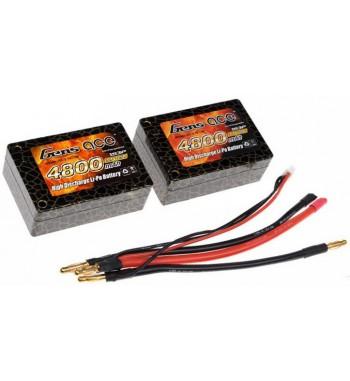 Bateria LiPo Gens Ace 4800mAh  7.4v 25C 2S3P Saddle Pack